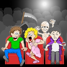 couple is watching a horror movie movie in a cinema