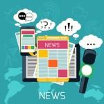 Mass media concept news radio newspaper